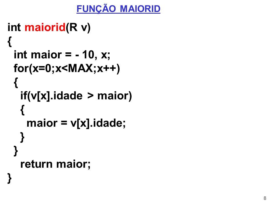 for(x=0;x<MAX;x++) if(v[x].idade > maior) maior = v[x].idade; }